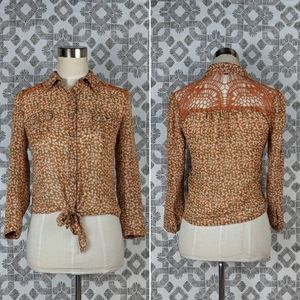 Mine Floral & Crochet Lace Orange Tie Front Top